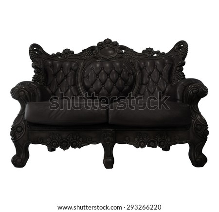 old dark brown sofa isolate on white background - stock photo