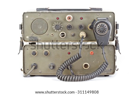 old dark green amateur ham radio on white background - stock photo