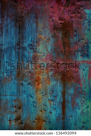 Old dark painted metal background - stock photo