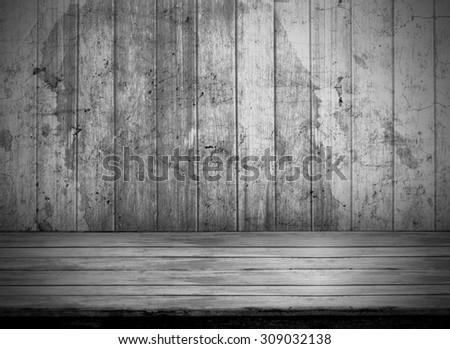 Old dark room with grunge wood floor background - stock photo