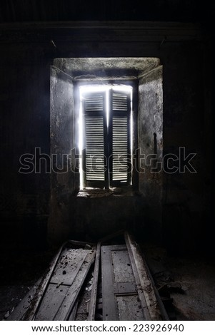 old dark window - stock photo