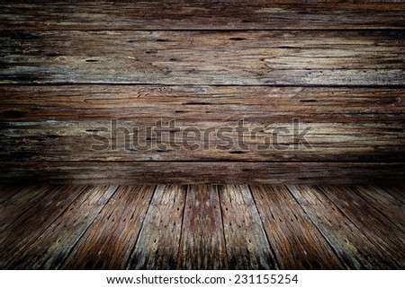 Old dark wood rotten wall and floor texture for background