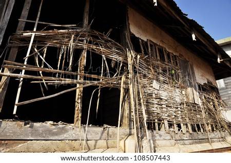 Old Decay Ancient House Weave Bamboo