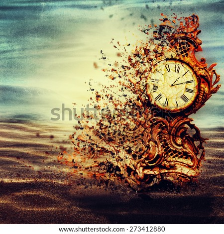 Old decaying clock under water. - stock photo
