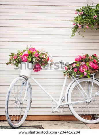 Old decorated bicycle - stock photo