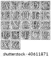 Old decorative alphabet from 16th century - stock photo