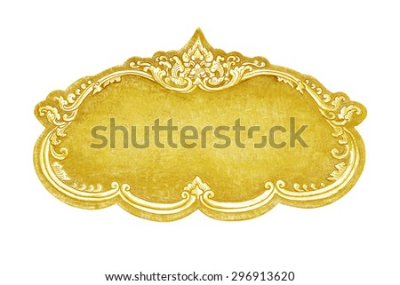 old decorative gold frame - handmade, engraved - isolated on white background - stock photo