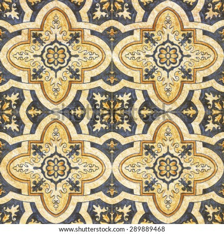 Old decorative sandstone tile background patterns In the park public. - stock photo