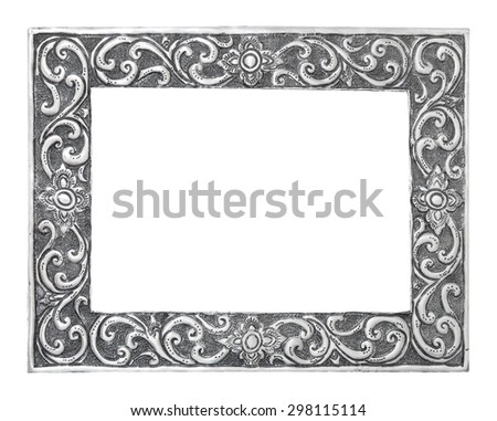 old decorative silver frame - handmade, engraved - isolated on white background - stock photo