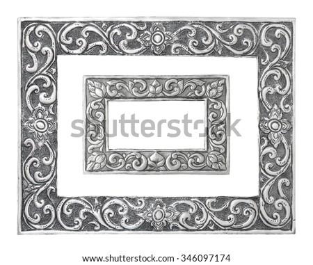 old decorative silver frame handmade engraved isolated on white background - Engraved Frame