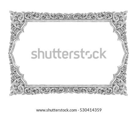 Old Decorative Silver Frame Handmade Engraved Foto de stock (libre ...