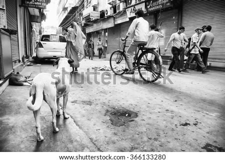 OLD DELHI, 23 March 2015 - Old Delhi street scene, India, Asia - stock photo