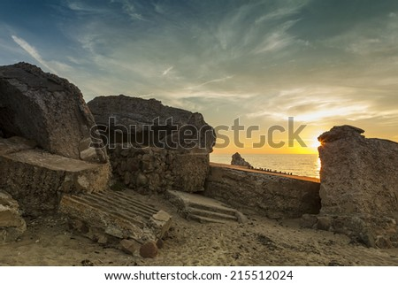Old demolished Northern forts in Liepaja, Latvia on the Baltic sea coast at sunset