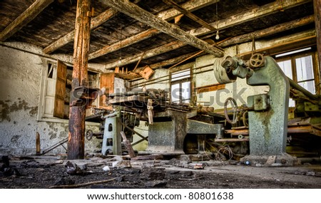 Old derelict workshop - stock photo