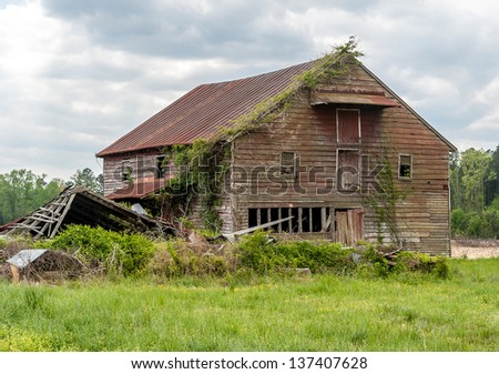 Old Deserted Farmhouse - stock photo