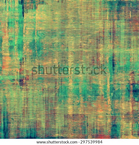 Old designed texture as abstract grunge background. With different color patterns: yellow (beige); brown; green; blue - stock photo