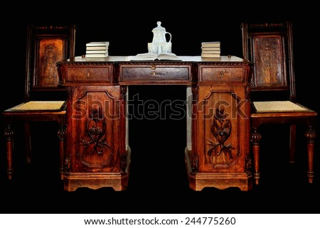 old desk with chairs - stock photo