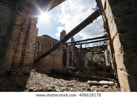 Old destroyed building - stock photo