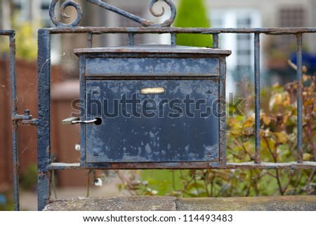 Old destroyed metal postbox