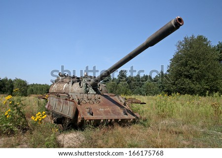 Old, destroyed tank T55