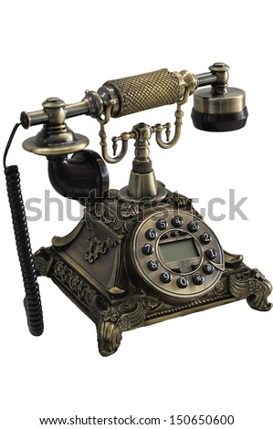 Old dial telephone isolate on white