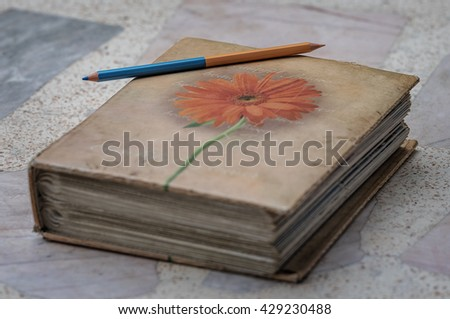 Old diary blurred edges to make them look old . - stock photo