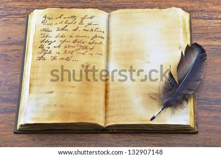 Old diary with feather (opened) - stock photo