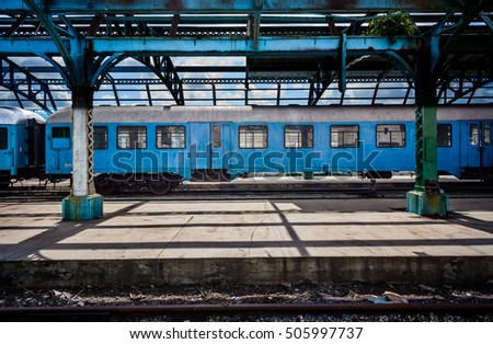 Old diesel trains still function in Havana, Cuba
