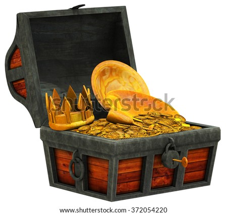 Old digital wood treasure chest open with gold coins, crown and plate inside, isolated on white.