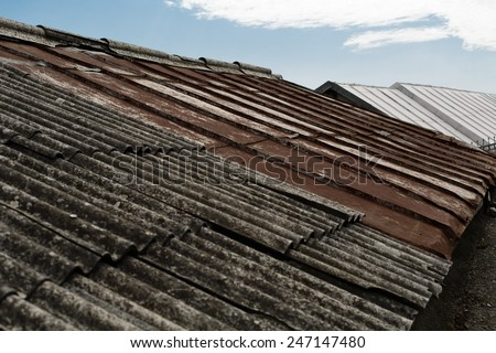 old dilapidated roofs of residential houses in Alupka, Crimea - stock photo