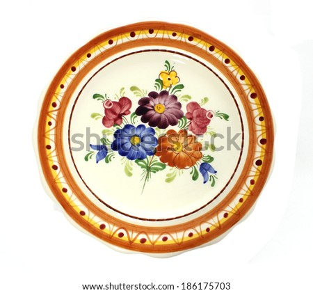 Old dinner plate isolated on white background