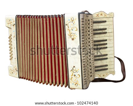 Old dirty accordion musical instrument isolated over white background - stock photo