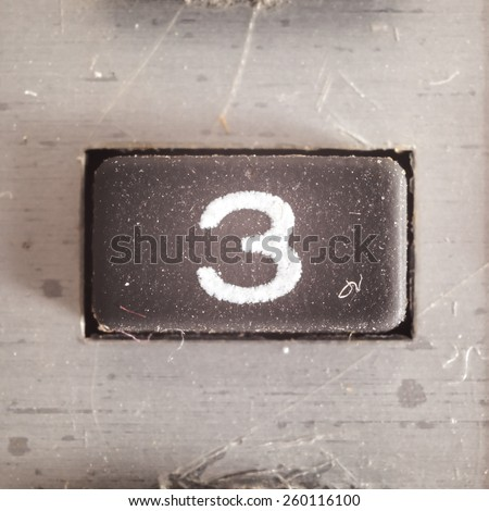 Old dirty and dusty rubberized button with written number on it, part of an old calculator.  - stock photo