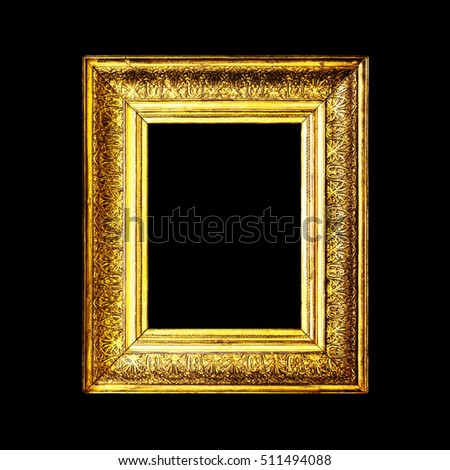 black antique picture frames. Old Dirty Antique Gold Frame Isolated On Black Background. Frame. Wooden Picture Frames