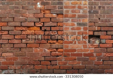 old dirty brick wall ruins background