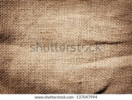 Old dirty burlap texture - stock photo