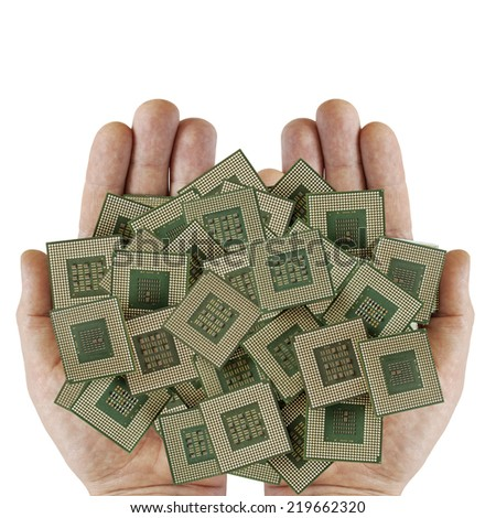 old dirty chips on a human palm, for electronic recyclin - stock photo