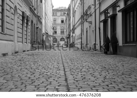 Old dirty cobble stones with grass, Prague, background, lane,black and white