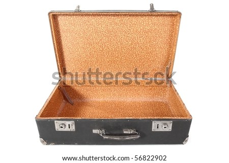 Old dirty dusty suitcase. Suitcase is opened and empty. Isolated. - stock photo