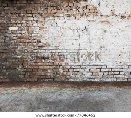 old dirty interior with brick wall, vintage background - stock photo