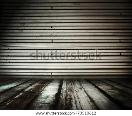 old dirty metallic room - stock photo