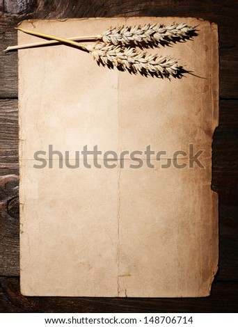 Old dirty paper and rye ears - menu concept - stock photo