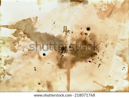 old dirty paper with blots - layer for photo editor - stock photo