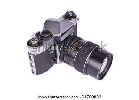 Old dirty slr camera with prime 135mm lens