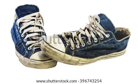 Old dirty sneakers isolated on white background, Lifestyle of teenager