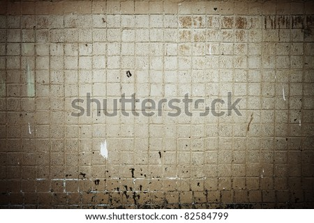 old dirty tile wall - stock photo