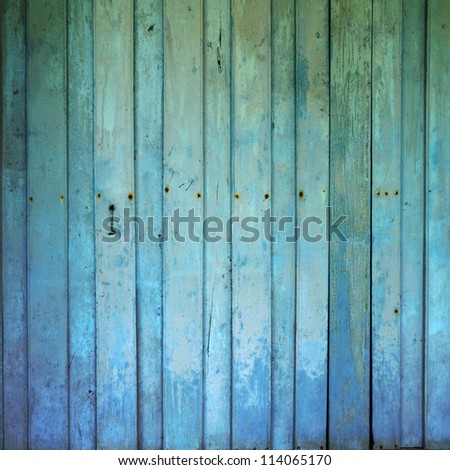 old dirty wooden wall blue - stock photo