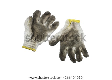 Old Dirty Work Gloves Isolated On White Background. - stock photo