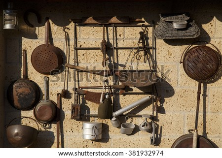 old dishes on the wall