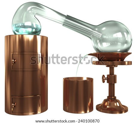 Old distillation, glass, copper, 3d render isolated on white - stock photo